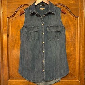 Merona Denim Button Front Sleeveless Shirt